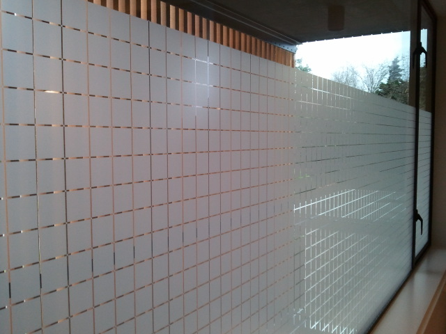 Frosted Decorative Tint providing privacy in Master Bath