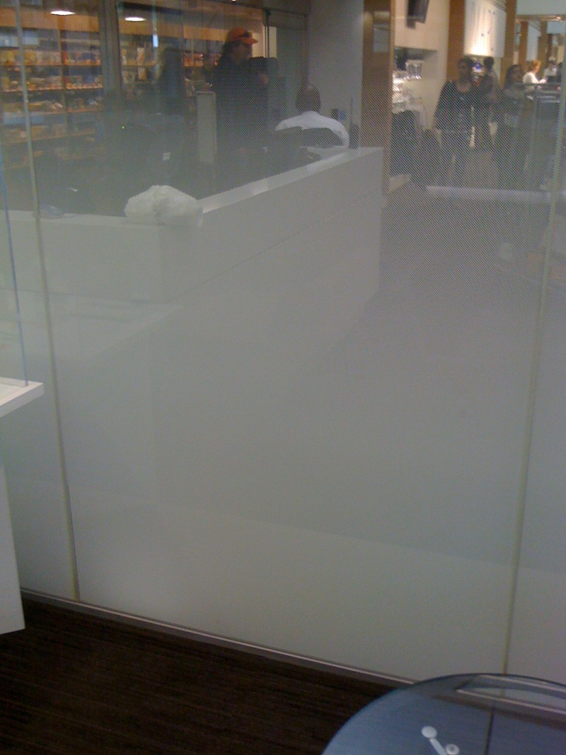 Microsoft Using 3M Gradient Film As Glass Partition A gentle gradient of small white dots from 100% opacity to 0%, or clear