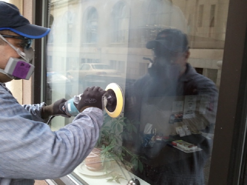 Buffing Glass, A Key Step In the Process To Restored Glass