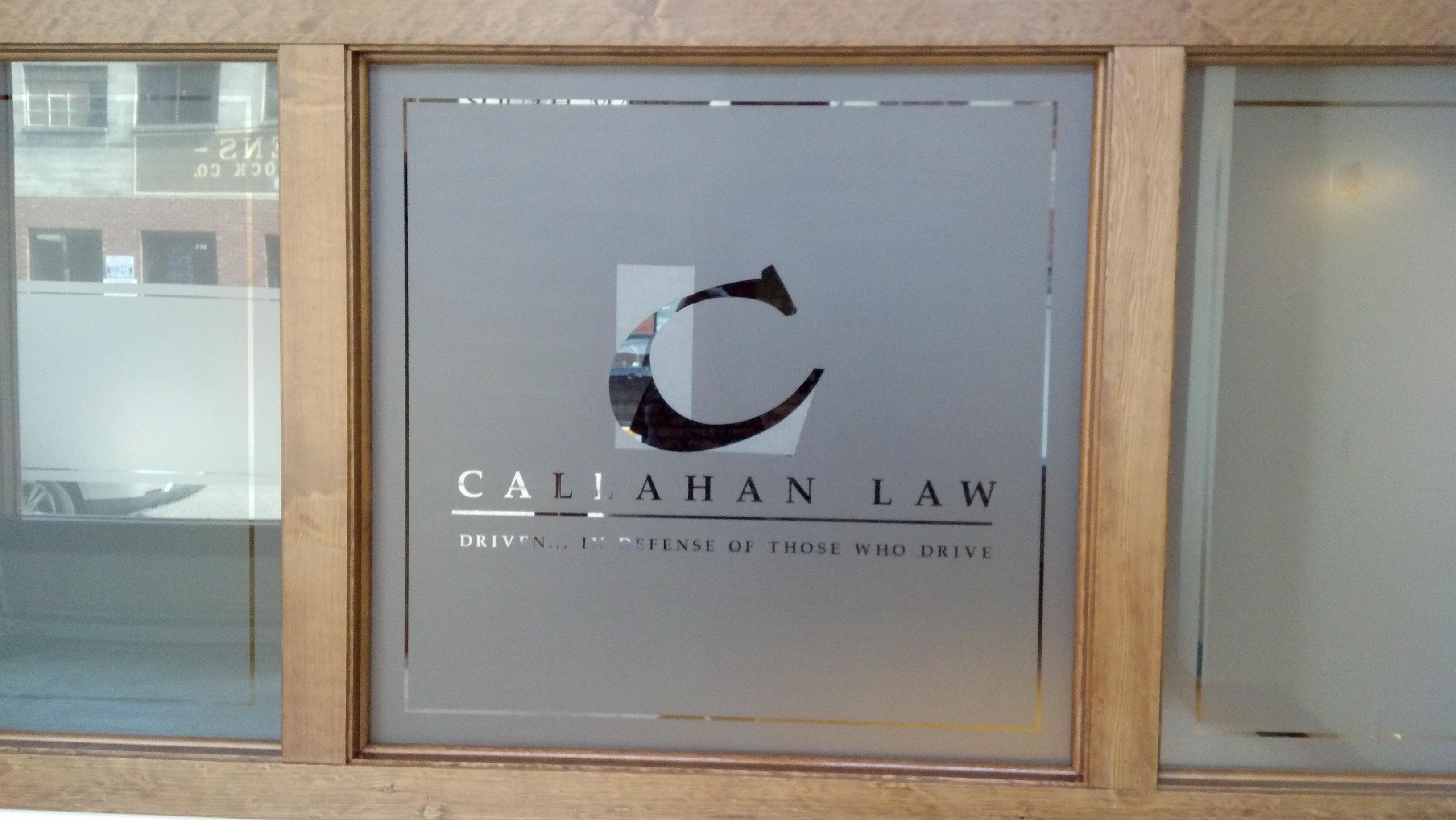 callahan law logo custom cut in decorative film - Decorative Films
